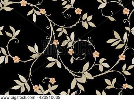 Floral Seamless Pattern, Background In Art Nouveau Style, Vintage, Old, Retro Style. Colored Vector