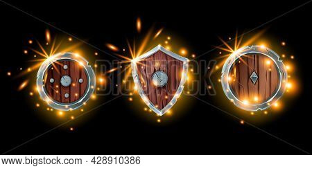 Medieval Game Shield Icon Set, Fantasy Wooden Knight Armor Kit, Magic Rpg Warrior Inventory, Fire Sp