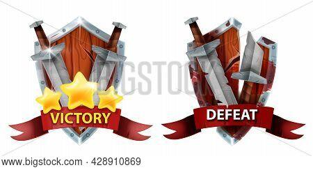Game Badge Rank Icon, Vector Defeat Victory Ui Design Element, Winner Achievement Award, Level Medal