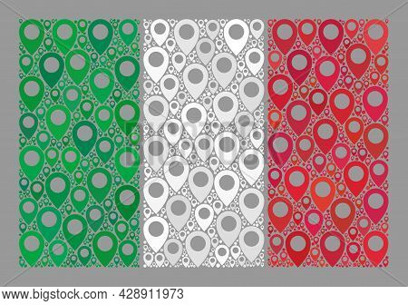 Mosaic Targeting Italy Flag Constructed With Placement Items. Vector Collage Rectangular Italy Flag