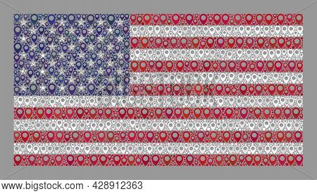 Mosaic Targeting Usa Flag Constructed Of Site Items. Vector Collage Straight Usa Flag Designed For C