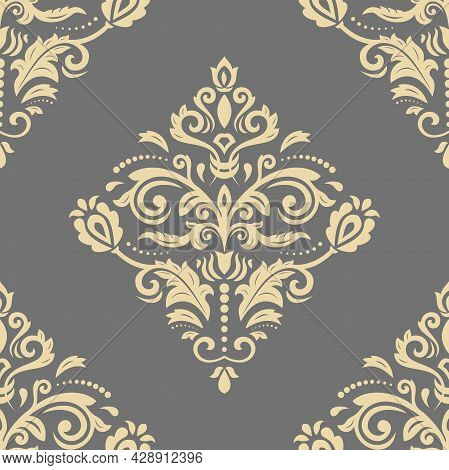 Classic Seamless Pattern. Damask Orient Ornament. Golden Classic Vintage Background. Orient Ornament