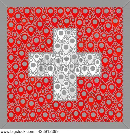 Mosaic Navigation Swiss Flag Created With Location Items. Vector Collage Rectangular Swiss Flag Done