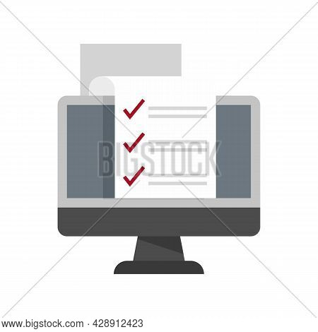 Pc Online Survey Icon. Flat Illustration Of Pc Online Survey Vector Icon Isolated On White Backgroun