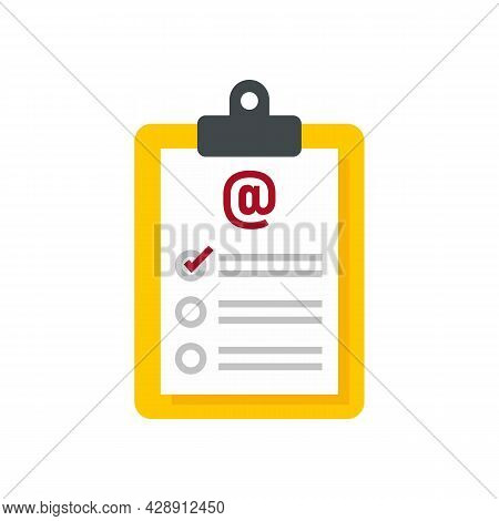 Clipboard Survey Icon. Flat Illustration Of Clipboard Survey Vector Icon Isolated On White Backgroun