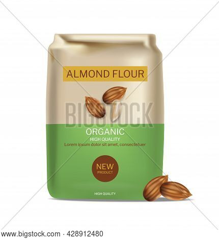 Almond Flour Vector Realistic Package. Product Placement Mock Up Detailed Label Designs
