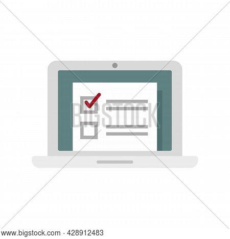 Laptop Online Survey Icon. Flat Illustration Of Laptop Online Survey Vector Icon Isolated On White B