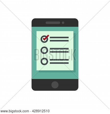 Smartphone Online Survey Icon. Flat Illustration Of Smartphone Online Survey Vector Icon Isolated On