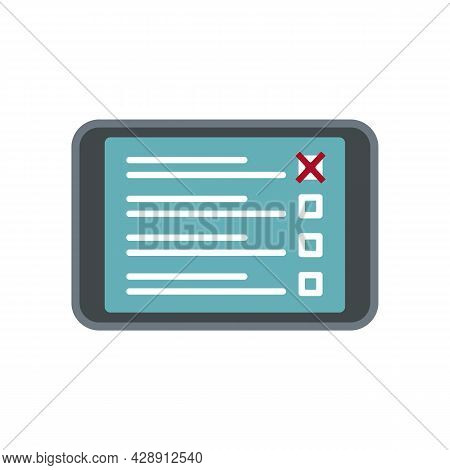 Tablet Online Survey Icon. Flat Illustration Of Tablet Online Survey Vector Icon Isolated On White B