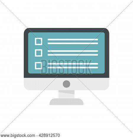 Business Online Survey Icon. Flat Illustration Of Business Online Survey Vector Icon Isolated On Whi