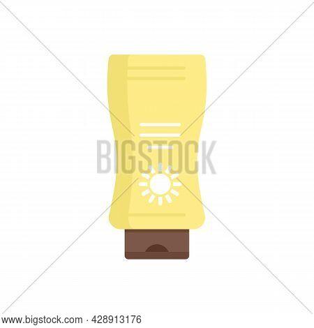 Sunscreen Bottle Icon. Flat Illustration Of Sunscreen Bottle Vector Icon Isolated On White Backgroun
