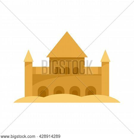Sand Castle Fort Icon. Flat Illustration Of Sand Castle Fort Vector Icon Isolated On White Backgroun