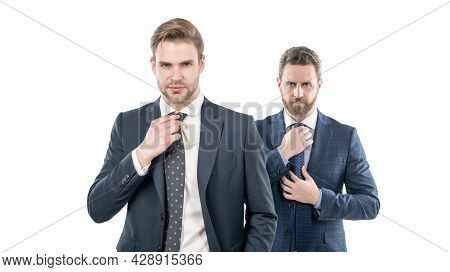 Two Successful Entrepreneur In Suit Tie Necktie Isolated On White, Businesslike