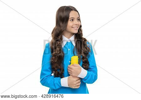 A Healthy Outside Starts From The Inside. Happy Kid Hold Bottle Isolated On White. Healthy Hydration