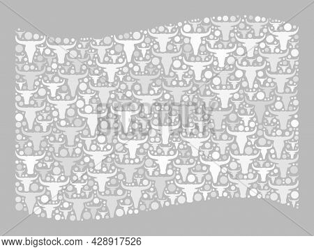 Mosaic Cattle Waving White Flag Created With Cow Head Elements. Vector Mosaic Windy White Flag Creat