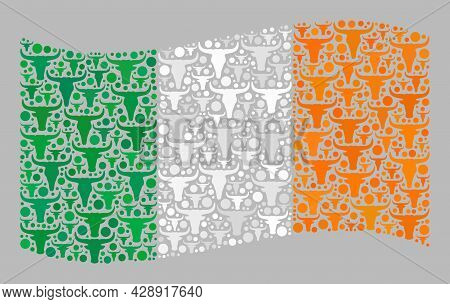 Mosaic Cattle Waving Ireland Flag Designed With Ox Icons. Vector Collage Waving Ireland Flag Combine