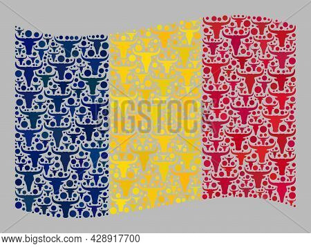 Mosaic Cattle Waving Chad Flag Designed With Livestock Elements. Vector Mosaic Waving Chad Flag Desi
