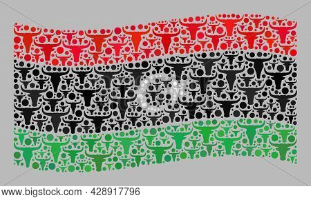 Mosaic Cattle Waving Libya Flag Designed Of Cow Head Icons. Vector Mosaic Waving Libya Flag Organize