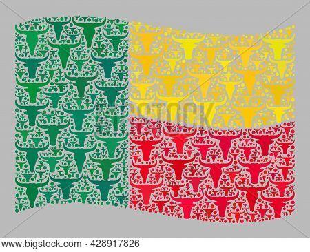 Mosaic Cattle Waving Benin Flag Constructed With Ox Icons. Vector Mosaic Waving Benin Flag Construct