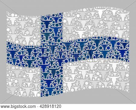Mosaic Cattle Waving Finland Flag Designed Of Cow Head Icons. Vector Mosaic Windy Finland Flag Done