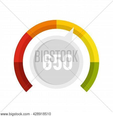 Measure Credit Score Icon. Flat Illustration Of Measure Credit Score Vector Icon Isolated On White B
