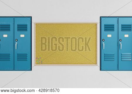 Cork Board With Thumbtacks On The Wall Next To School Lockers. School Bulletin Board. 3d Rendering