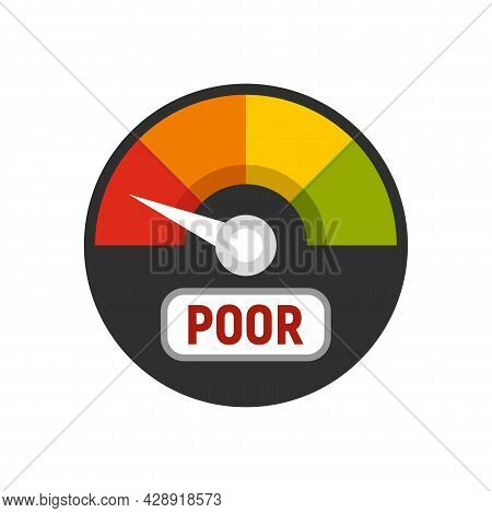 Poor Credit Score Icon. Flat Illustration Of Poor Credit Score Vector Icon Isolated On White Backgro
