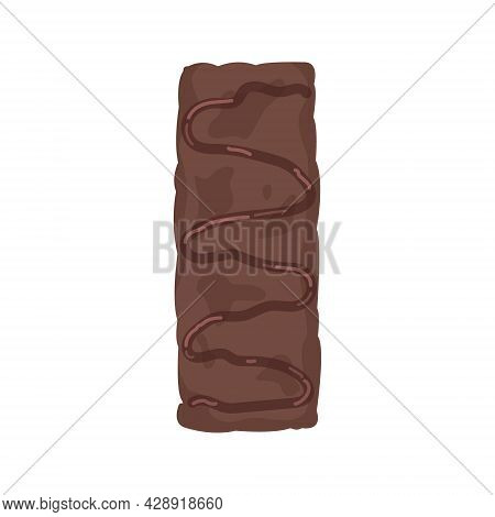 Chocolate Muesli Bar, A Healthy Homemade Snack Made From Cereals And Chocolate. An Organic Dessert F