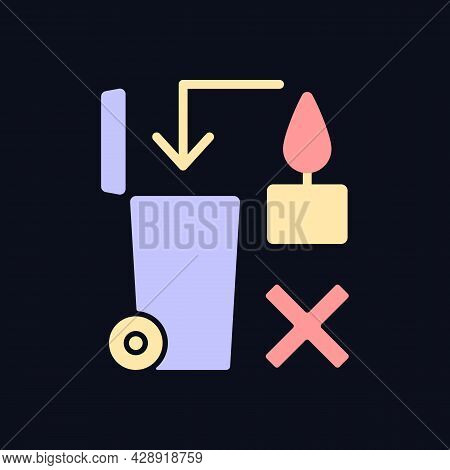 Never Throw Hot Wax In Trash Bin Rgb Color Manual Label Icon For Dark Theme. Isolated Vector Illustr