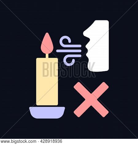 Never Blow Out Candle Flame Rgb Color Manual Label Icon For Dark Theme. Isolated Vector Illustration