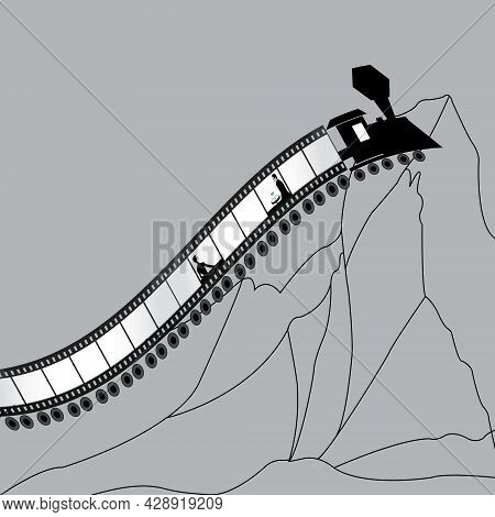Illustration Of A Couple In A Train That Looks Like A Filmstrip To Illustrate Their Life And Journey