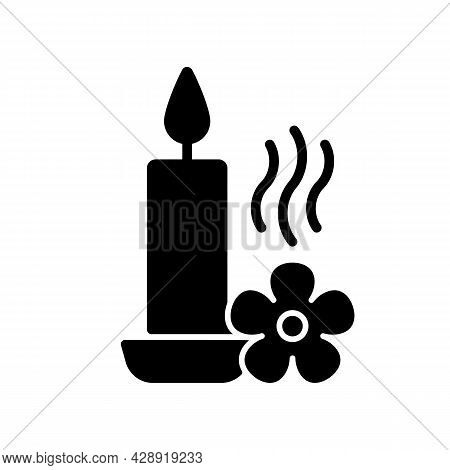Scented Candle Black Glyph Manual Label Icon. Fragrant Oils And Wax Mixture. Burning With Pleasant A