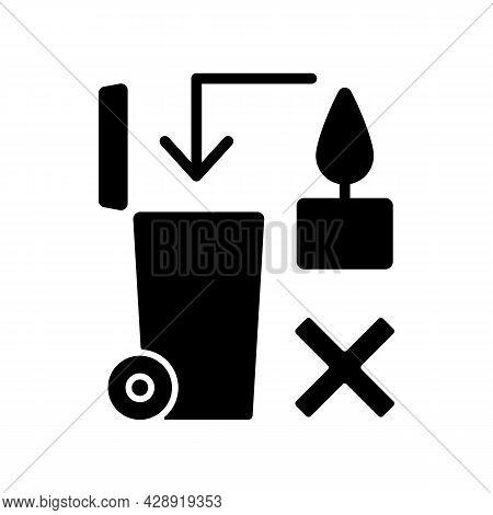 Never Throw Hot Wax In Trash Bin Black Glyph Manual Label Icon. Heated Wax Danger. Flammable Liquid