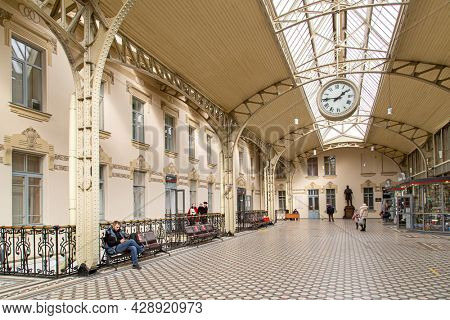 Saint-Petersburg, Russia - March, 27, 2021: Railway terminal in Russia. Vitebsky Station. Empty hall of the station in St. Petersburg. Interior of Vitebsky Station. Souvenir shops in the terminal