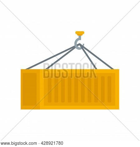 Crane Hook Container Icon. Flat Illustration Of Crane Hook Container Vector Icon Isolated On White B