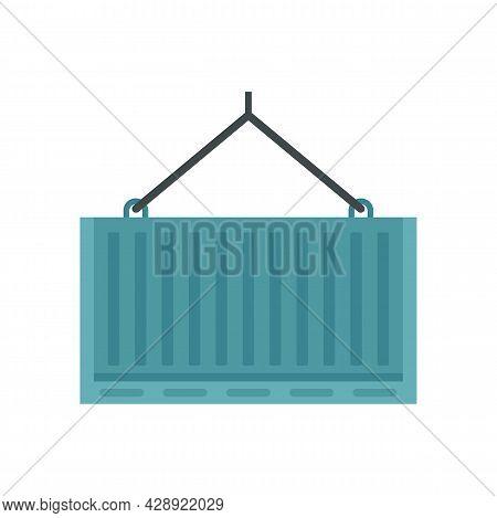 Port Crane Container Box Icon. Flat Illustration Of Port Crane Container Box Vector Icon Isolated On