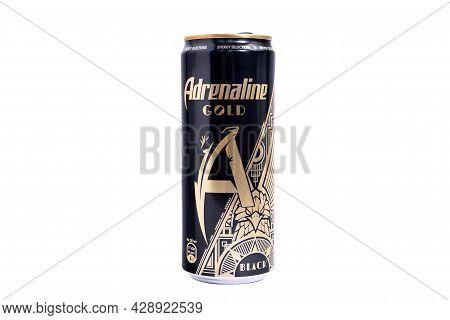 Tyumen, Russia-may 25, 2021: Energy Drink Adrenaline Rush Gold. Brand Adrenaline Rush Is A Company P