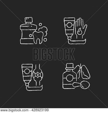 Medical Treatment Options Chalk White Icons Set On Dark Background. Mouthwash For Oral Health. Antib