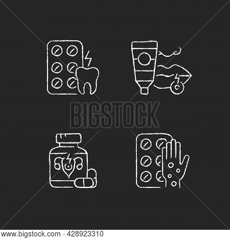 Disease Treatment Chalk White Icons Set On Dark Background. Relieve Toothaches. Antiviral Ointment.