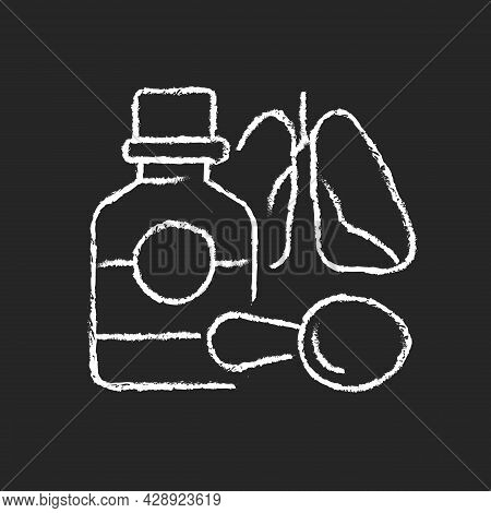 Cough Syrup Chalk White Icon On Dark Background. Cold Medicine. Sooth Irritated Throat. Coughing Sup