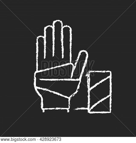 Medical Bandage Chalk White Icon On Dark Background. Bandaged Hand. Sterile Wound Dressing. Stop Ble