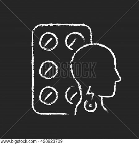 Lozenges For Sore Throat Chalk White Icon On Dark Background. Irritation Sensations Relieving. Sooth