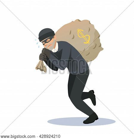 The Thief Has Stolen A Large Bag Of Money And Is Carrying It With Great Difficulty. The Criminal Ste