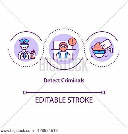 Detect Criminals Concept Icon. Face Recognition Technology. Aid Law. Enforcement Criminals Identifyi