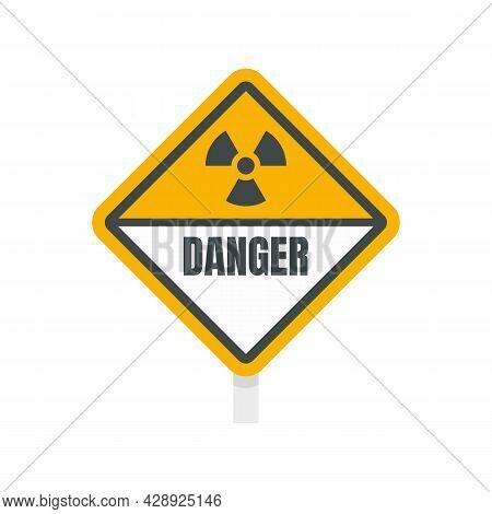 Danger Radiation Zone Sign Icon. Flat Illustration Of Danger Radiation Zone Sign Vector Icon Isolate