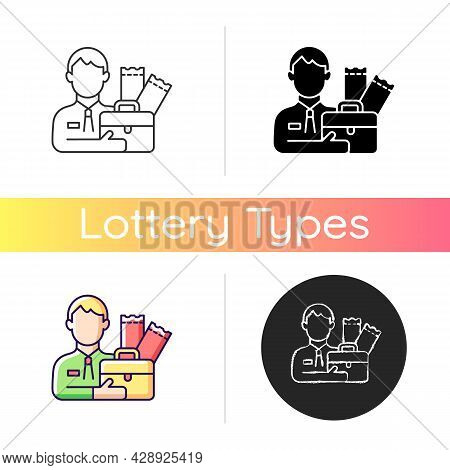 Lottery Agent Icon. Middleman Between Participator And Lottery Tickets Distributor. Possibility To P