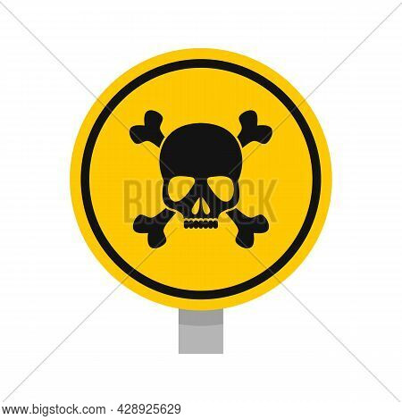 Round Danger Sing Icon. Flat Illustration Of Round Danger Sing Vector Icon Isolated On White Backgro