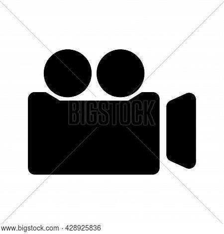 Video Camera Glyph Icon. Film Camera. Recording Icon. Internet Button For Webinar, Video Chat, Ect.