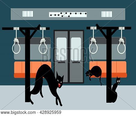 Illustration Of A Metro With Hanging Ropes And Several Lonely Cats, For The Conceptual Idea What The