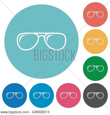 Glasses With Glosses Flat White Icons On Round Color Backgrounds